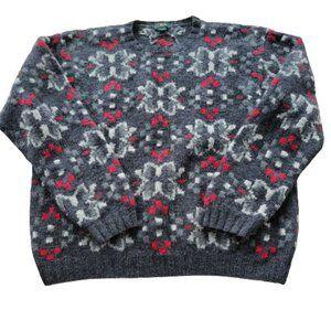Vintage 90s J. Crew Men's Large 100% Wool Fair Isle Chunky Pullover Sweater